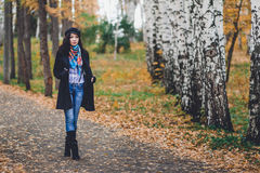 Fashion woman walking in autumn park Stock Images