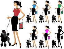 Fashion woman walking dog. Different colored versions of woman with handbag walking dog. Red, blue, black, green, pink, silhouette. Very detailed royalty free illustration