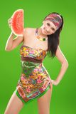 Fashion woman with watermelon Royalty Free Stock Images