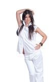 Fashion woman wear white pants and shirt isolated over white Stock Photos