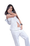 Fashion woman wear white pants and shirt isolated over white Stock Images