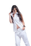 Fashion woman wear white pants and shirt isolated over white Royalty Free Stock Photography