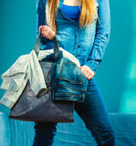 Fashion woman wearing blue denim with bag Royalty Free Stock Photo