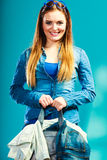 Fashion woman wearing blue denim with bag Royalty Free Stock Image