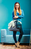 Fashion woman wearing blue denim with bag Stock Photos
