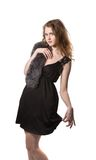 Fashion woman wearing an elegant black dress with  Stock Image