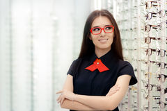 Fashion Woman Wearing Eyeglasses in Medical Optical Shop Stock Images