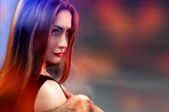 Fashion woman wearing in fur coat Royalty Free Stock Images