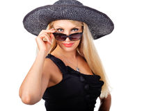 Fashion woman wearing hat and sunglasses Stock Images