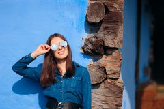 Fashion Woman Wearing Mirror Sunglasses on Summer Vacation royalty free stock images