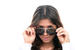 Fashion woman wearing off sunglasses Royalty Free Stock Images