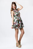 Fashion woman wearing a pretty spring dress stock images