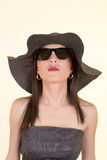 Fashion woman wearing sunglasses and hat. Stock Images