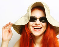 Fashion woman wearing sunglasses and hat. Royalty Free Stock Photo