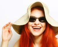 Fashion woman wearing sunglasses and hat. Royalty Free Stock Photo