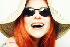 Fashion woman wearing sunglasses and hat. Stock Photos