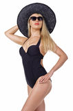 Fashion woman wearing swimsuit, hat and sunglasses Royalty Free Stock Photography