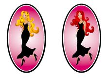 Fashion Woman Web Page Logos. Your choice of 2 clipart fashion logo illustrations featuring a blonde and redhead. Each is wearing a long black dress set against Royalty Free Stock Photography