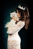 Fashion Woman and White Cat Royalty Free Stock Photography