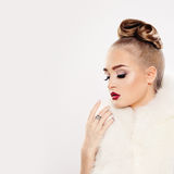 Fashion Woman in White Fur Royalty Free Stock Images