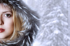 Fashion woman in winter fur hat. Half of face Stock Photography