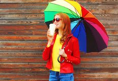 Free Fashion Woman With Coffee Cup And Colorful Umbrella In Autumn Day Stock Images - 100590254