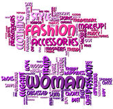 Fashion and Woman Word Clouds stock illustration