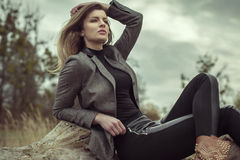 Fashion woman. Fashion young woman posing outdoor Royalty Free Stock Images