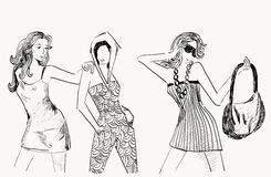 Fashion womans. Three girls in fashionable clothes. Hand-drawn illustration Stock Images