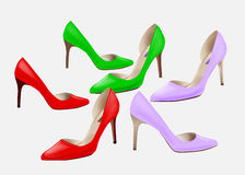 Fashion women's colorful high-heeled shoes. Set of high heeled shoes . Stylish girl's footwear. High-heeled  elegant shoes for party. Shoes icon Stock Photos