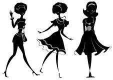 FAshion women. Vector silhouettes women in fashion clothes on white. Graphic image Stock Photo