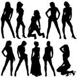 Fashion women. Set of fashion silhouettes women stock illustration