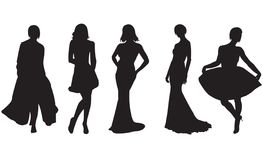 Fashion women. Vector. Silhouettes of the womans on white background royalty free illustration