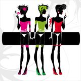 Fashion women. On the white background decorated with abstract pattern Stock Image