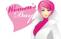 Fashion women. Graphic women illusatrtion in pink and white with women's day text Stock Photography
