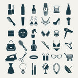 Fashion and women accessories, icons Royalty Free Stock Photography