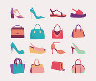 Fashion Women bags handbags and High Heels shoes Stock Images