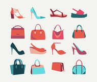 Fashion Women bags handbags and High Heels shoes Royalty Free Stock Images