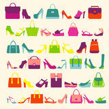 Fashion Women bags handbags and High Heels shoes Royalty Free Stock Image