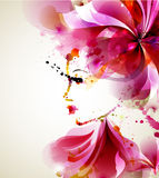 Fashion women. Beautiful fashion women with abstract hair and design elements stock illustration