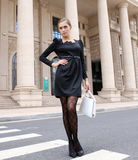 Fashion Women in black dress Royalty Free Stock Image