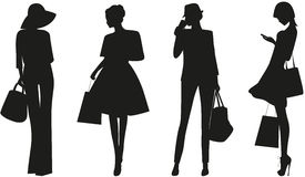Fashion women. Black silhouettes of Fashion women on white background. Vector Royalty Free Illustration