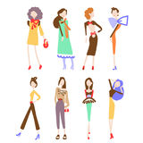 Fashion women collection. Beautiful women collection. Girls isolated on white background. Vector illustration eps 10 Royalty Free Stock Photo