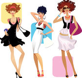 Fashion women. Colorful illustration of three fashionable women Royalty Free Stock Images