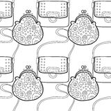 Fashion women handbag for coloring book. Black and white seamless pattern of stylish accessories. Vector. Illustration vector illustration