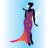 Fashion women illustration in glamourus style Royalty Free Stock Photos