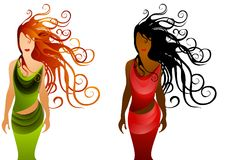 Fashion Women With Long Hair 2. A clip art illustration of your choice of 2 women dressed in green and red wrap dresses with long flowing black and red hair vector illustration