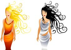 Fashion Women With Long Hair. A clip art illustration of your choice of 2 women dressed in gold and silver wrap dresses with long flowing black and blonde hair stock illustration