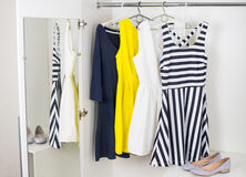 Fashion women's dresses on hangers Royalty Free Stock Photography