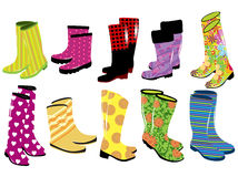 Fashion women's rubber boots. Vector illustration of fashion women's rubber boots Stock Photos